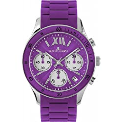 Jacques Lemans Unisex Rome Sports Wrist Watch with Purple Silicone Strap