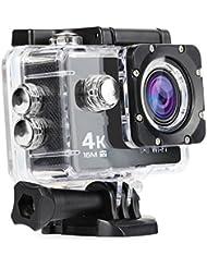 Nexgadget Caméra Action 4K WiFi Ultra HD 16MP, Caméra Embarquée Grand Angle 170 Degrés, Caméra Sport Etanche avec Capteur Sonore, Caméra LCD 2 Pouces pour Plongée jusqu'à 30 Mètres