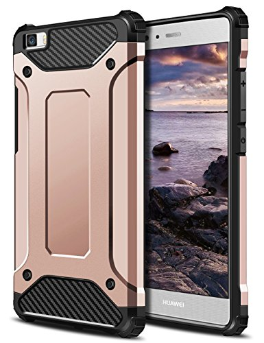 Funda Huawei P8 Lite, Coolden High Pro Shield P8 Lite Funda Carcasa Protector Doble Capa TPU+PC Resistente a los arañazos Ajuste delgado Cover Choque Absorción Case para Huawei P8 Lite-Oro Rosa