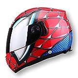 M-TK Vollgesichts-Motorrad-Helm Herren Doppelobjektiv Casco NENKI830 Spiderman Motorrad-Helm,Red,L