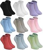 9 paires de socquettes en Bambou, blanc, noir rose violet bleu pistache beige , orange, rouge framboise EUR: 36 37 38, douces et confortables, fabriquées en UE, tailles by Rainbow Socks