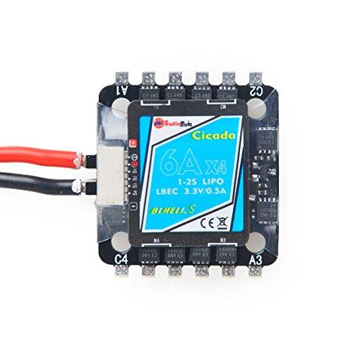 DroneAcc BLHeli S 4 in 1 6A Mini ESC 20x20mm Montageloch 1-2S Lipo Eingang 3.3V 0.5A LBEC Elektronischer Geschwindigkeitsregler für FPV Racing Multirotor