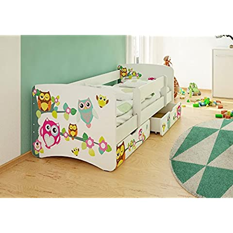 Best For Kids cama infantil con protección anti Caídas con 2cajones y con 10cm Colchón TÜV certificado Super Selección 2tamaños diversos diseños