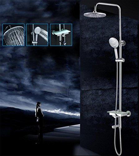 SUN-3 Impostazione pioggia di lusso del miscelatore doccia insieme combinato di Soild ottone Sistema Bagno doccia con finitura cromo lucido barra di scorrimento