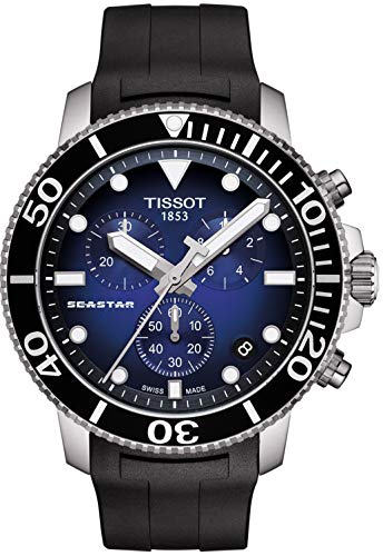 Tissot Herren-Armbanduhr Analog Quarz One Size, blau, schwarz