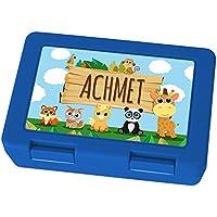 Preisvergleich für Brotdose mit Namen Achmet - Motiv Zoo, Lunchbox mit Namen, Frühstücksdose Kunststoff lebensmittelecht