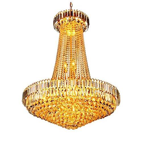 MULANG Europäischen Stil Gold Crystal Kronleuchter, Hotel Duplex Gebäude Wohnzimmer Licht, Lobby dekorativ Kronleuchter, LED Restaurant Deckenleuchte, 60 X 70 (CM) (60's Stil Halloween Kostüme)