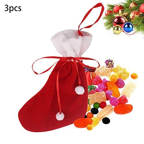 Sungpunet 3pcs Mini Weihnachtsstrümpfe Geschenk und Candy Bag für Bevorzugungen und Dekorieren (Bulk Strümpfe Mini)
