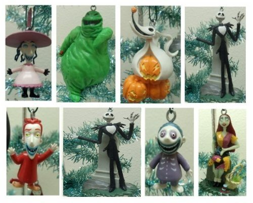 Nightmare Before Christmas 7 Piece Holiday Christmas Tree Ornament Set Featuring Jack Skellington, Sally, Zero, Shock, Lock, Barrell, and Oogie Boogie by Nightmare Before Christmas