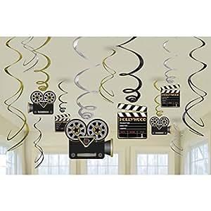 Déco de Salle Guirlande Décoration Hollywood Party 12 pièces Cinéma Décor de Plafond Spirale Décorative VIP Caméra Pendante