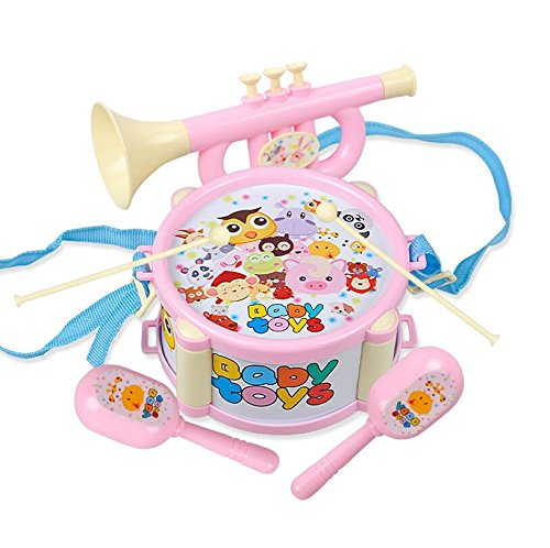 PvxgIo 6 Teile/Satz Kinder Baby Spielzeug Musikinstrument Perkussion Tamburin Drum Beat Rassel (Rosa)