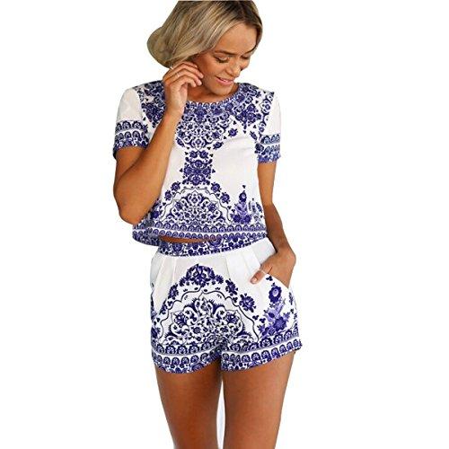 fetion da donna estate moda stampa vintage blu e bianco porcellana a maniche corte camicia camicetta e pantaloncini pantaloni 2pezzi Set Rommer/Tutina/Tuta/beachwear