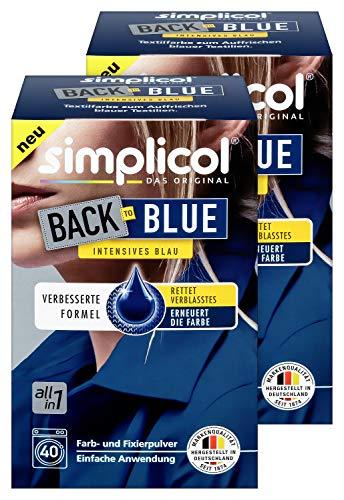 Simplicol Farberneuerung Back-to-Blue, 2er Pack: Farbauffrischung und -Erneuerung in der Waschmaschine, Hautfreundlich, All-in-1 DIY Färbemischung mit Textilfarbe für Stoffe