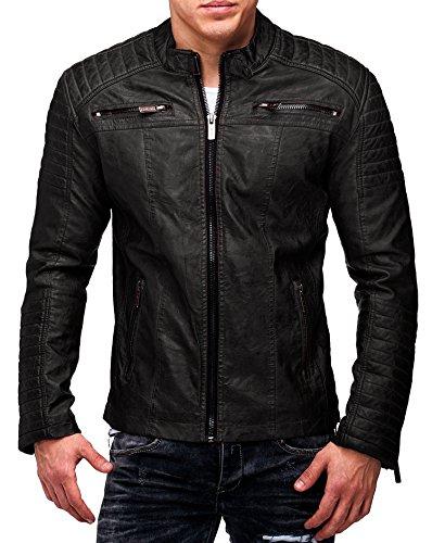 Redbridge Herren Jacke Übergangsjacke Biker Lederjacke Echtleder Kunstleder  Baumwolle mit gesteppten Bereichen Schwarz - Echtleder d7824fdcb5