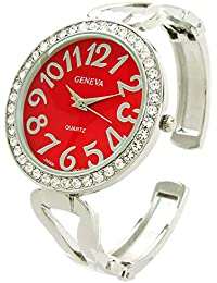 119be47f249a Reloj de Pulsera para Mujer con Bisel de Cristal Plateado y Rojo