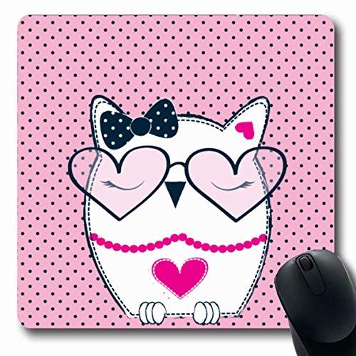 Luancrop Mousepads für Computer Farbe Cute Owl Sonnenbrille auf Polka Lovely Dots Graphics Halskette Baby Bird Charakter Owlet rutschfeste Oblong Gaming Mouse Pad