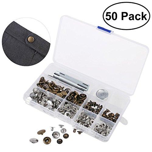 OUNONA 50 set Metall Druckknöpfe 15mm Druckknopf Set 4tlg Werkzeug Locheisen mit Aufbewahrungsbox - Installation Stud Tool