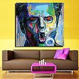 tzxdbh Neue Leinwand Wandkunst Abstrakte Moderne Bunte Mann Gesicht Porträt Leinwand Ölgemälde...