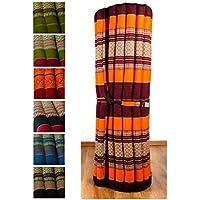 Preisvergleich für Kapok Liegematte der Marke Asia Wohnstudio, 200cm x 110cm x 4,5cm; Rollmatte bzw. Yogamatte, Thaimatte, Thaikissen als asiatische Rollmatratze