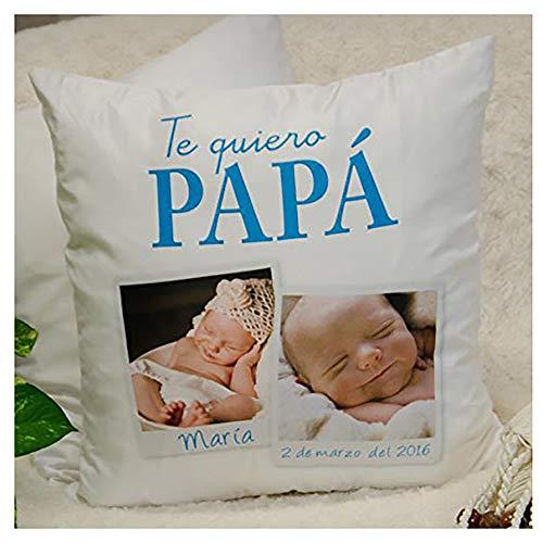 Calledelregalo Regalo Personalizable para Padres: cojín 'Te Quiero papá' Personalizado con 2 Fotos (Cojín 'te Quiero papá')