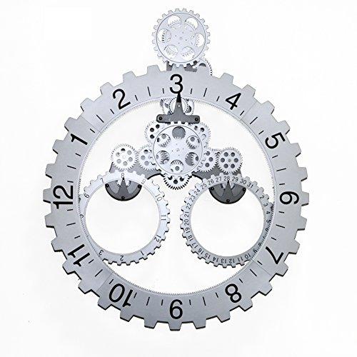 66 x 55cm große mechanische Stil Zahnrad Quarzuhr, Monat / Datum / Stunde Rad Wanduhren (Silber)