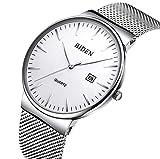 BIDEN Herrenuhren Wasserdicht Ultra-dünn Analog Quarz Uhren mit Milanese Mesh Armband 021