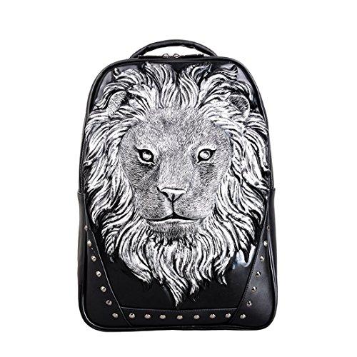 Preisvergleich Produktbild MAGAI Animal 3D Lion Kopf Backapck PU Laptop Schultertasche für Männer (Color : Silver)