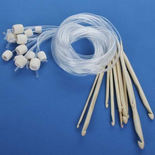 Hemore Häkelnadeln aus gebleichtem Bambus, Verschiedene Größen, 3,0-10,0 mm, Halloween, Weihnachten, Danksagung, Dekoration, Geschenk, 12 Stück