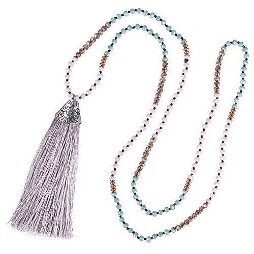 KELITCH Boho Handmade Halskette Kristall Perlen Muschelförmig Gravur Quaste Kette für Damen, Grau