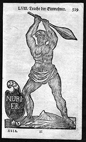 Afrika Tracht (Tracht der Einwohner - Nubien Nubier Afrika Tracht Trachten costumes Holzschnitt antique)