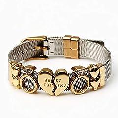 Idea Regalo - DASHUAIGE Bracelet Braccialetti A Maglie in Acciaio Inossidabile Argento Bicolore per Donna Uomo Bracciale A Maglie Dorate Love & Amp;Braccialetti Regali