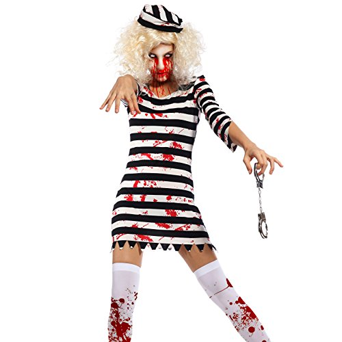 Halloween Gr.M Gefangene Kostuem Straefling Kostuem Knasti Gefaengnis Damen Zombie Horror Hexe Vampir Zombiekostuem