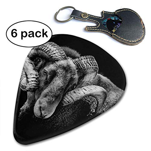 Ram Antlers Sheep Farmhouse Animal Picks for Bass Electric Acoustic Guitars 6 Pack.46mm 009 Ram