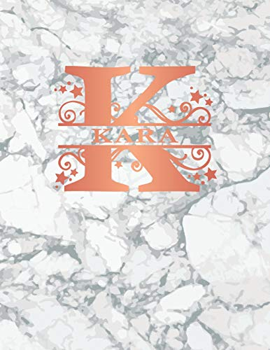 Womens Kara Rose (Kara: Personalized Journal Notebook for Women or Girls. Monogram Initial K With Name. White Marble & Rose Gold Cover. 8.5