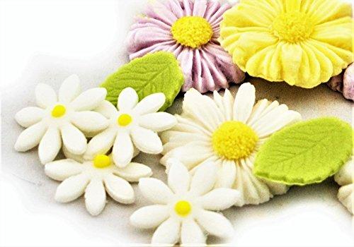 Noah Bakery Zucker Blume Gänseblümchen grünes Blatt Dekoration essbare Kuchen Toppers Hochzeit Geburtstag Taufe (Essbare Kuchen-blätter)