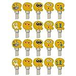 20 Mini Yellow Emoji Smiley Face Pegs / Clips