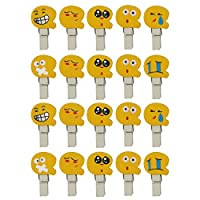 20 Mini Yellow Emoji Smiley Face Pegs / Clips