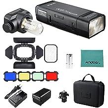 Godox AD200 Pocket Flash GN52 GN60 + S15 Lámpara Flash Tubo Protector de Bulbo + Puerta del Granero BD-07 con Rejilla del Peine de la Miel y 4 Filtros de Color + Trapo Limpiador de Andoer