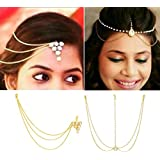 ITS - COMBO of 2 Yellow Gold Color Triangle Head Chain And Pearl Maang Tikka For Girls