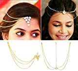 #7: ITS - COMBO of 2 Yellow Gold Color Triangle Head Chain And Pearl Maang Tikka For Girls