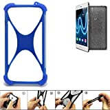 K-S-Trade Bumper für Wiko Fever Special Edition Silikon Schutz Hülle Handyhülle Silikoncase Softcase Cover Case Stoßschutz, blau (1x)