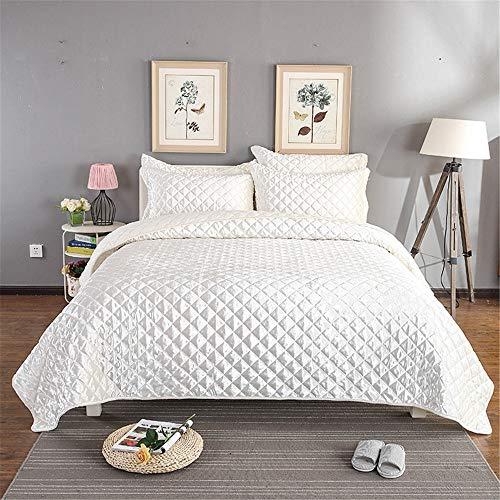 Dreiteilige Bett Gold Bettdecke DREI Sätze von Gesteppten Solid Color Plus Blätter gelten für Zuhause 3 Stück Bett Set (Farbe : Weiß) (Gold-bett-satz)