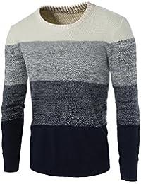 Zicac Winter Mens Fine Neuheit Langarm Stilvolle Streifen Strick Pullover Rundhals Strickwaren Slim Fit Verschiedene Farbe Casual Sweatshirt Top