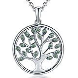 JO WISDOM Baum Des Lebens,kette anhaenger silber 925 baum des lebens Anhänger Halskette,Damen Schmuck,kette: 45-50CM (silber,Smaragd)