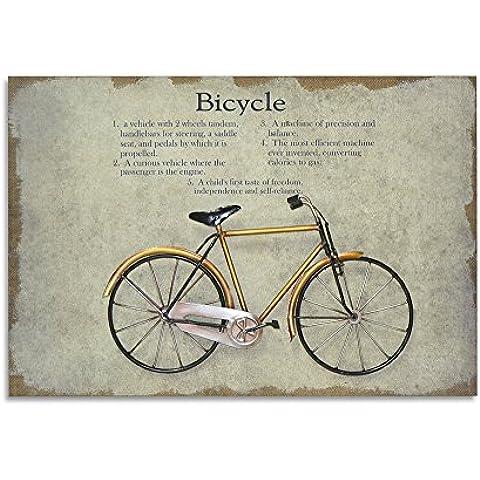 Moycor Decoracón - Cuadro, madera/metal, diseño bicicleta, 60 x 2,5 x 40 cm, color amarillo