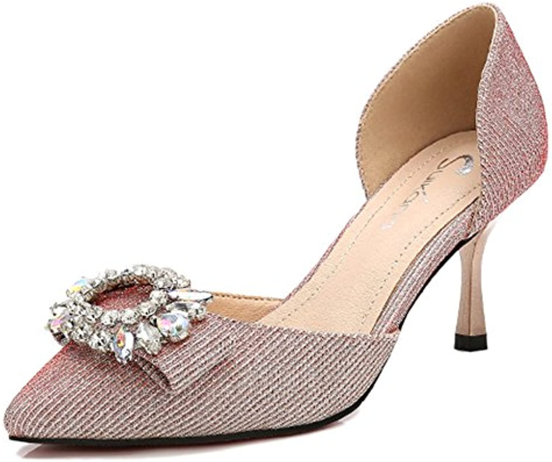 cy Frauen Closed Toe Sandalen Strass Dorsay Pumps Mid Heels Pailletten Hochzeit Court Schuhe Für Damen
