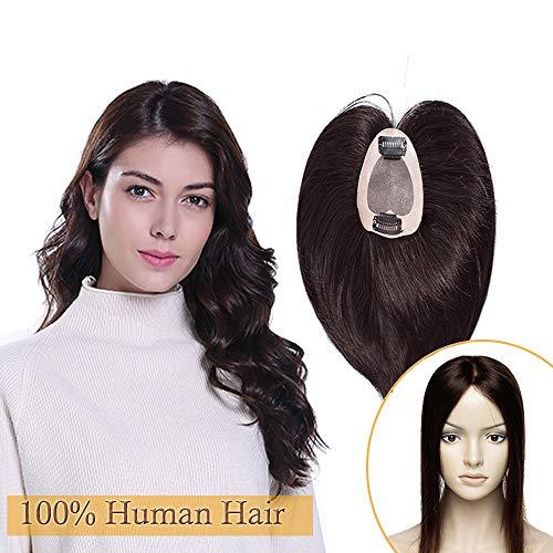 Extension capelli veri hair topper donna con clip lunghi 30cm pesa 32g, parrucca donna #2 marrone scuro, mono lace base 7cm*8cm, 100% remy human hair 120% density