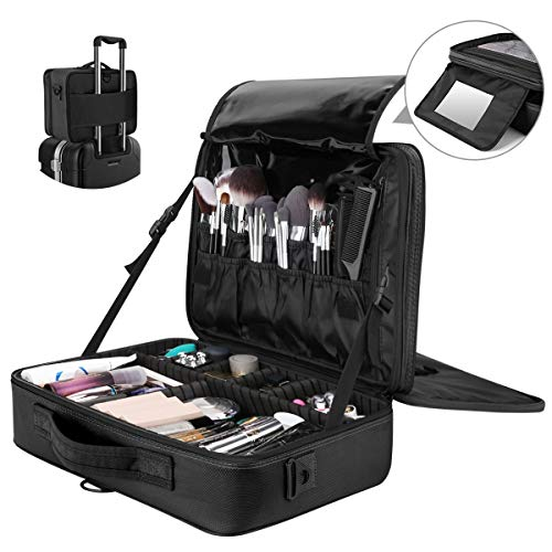 a92979540976 Travel Makeup Case, Luxspire Multilayer Cosmetic Makeup Train Case Portable  Makeup Bag Large Cosmetics Makeup Box Organizer With Shoulder Strap and ...
