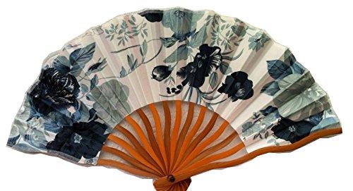 F-M2 Mini Satin Faltfächer für eine orientalische Party mit gebogenen Bambus Griff mit floralem Muster - in Frau