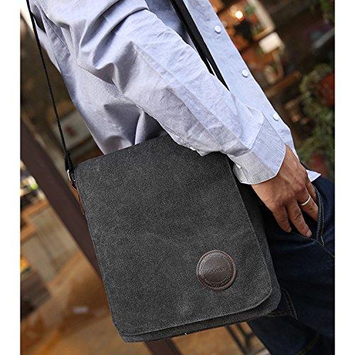 MeCool Umhängetasche Herren Canvas Schultertasche Vintage Messenger Bag für männer Reisetasche Sport Segeltuch schultaschen Strandtasche Herrentaschen Reisetaschen sporttasche weekender freitag Tasche Schwarz One